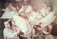 Bridesmaids Pillow Fight Wedding Photography